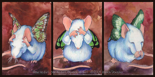 Hear, See, Squeek no evil by JessicaDouglas