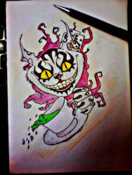Cheshire cat tattoo design by BloodyNyan