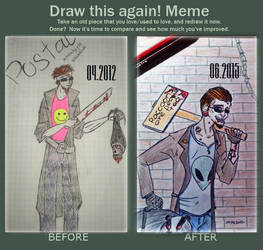 Draw this again meme, Postal Dude by BloodyNyan