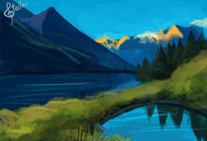 Speedpaint #2: Over the Mountains and the Seas by Elvann