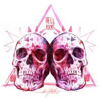 SKULLS 1 HELL ROCKS by javierGpacheco