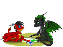 Drawing together (art Trade) by Tomek1000
