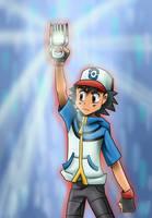 Ash holding Xros Loader by Riadorana