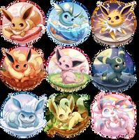 Eeveelutions Series Complete! by Seyumei