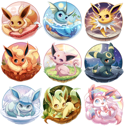 Eeveelutions Series Complete! by Seyumei
