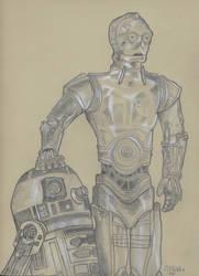 R2D2 C3PO by FletcherArtwork
