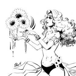 Sunflowerladyweb_lines by pauscorpi