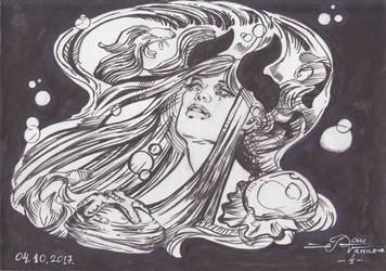 Horned Diva: Inktober 2017 04 by pauscorpi