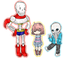 Cool skeletons and a cutie by Ikaraide