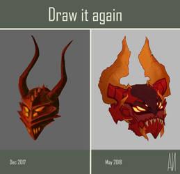 [Draw It Again Meme] Demonic helmet by SanyokVAMPIRE