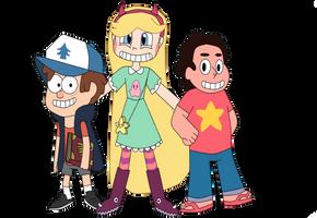 Fan Art~Dipper, Star, and Steven Crossover by Kenexandrite