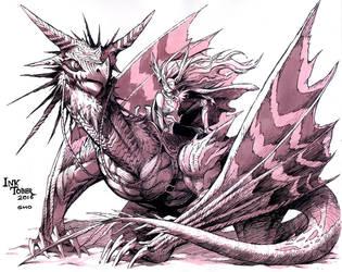 Inktober Dragon by gmoshiro