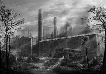 Abandoned Factory Concept Art by misi006