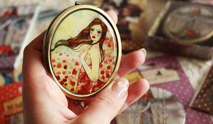 Pocket Mirror Poppies in the Sky by Minasmoke