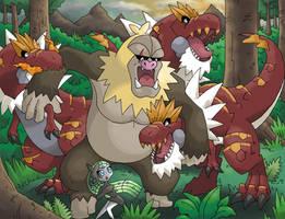 Slaking Kong vs Tyrantrum by Jougeroth