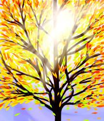 Scenery Practice: Tree in the Fall by Rhoark