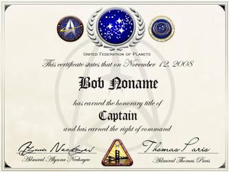 Starfleet honorary captainship by Balsavor