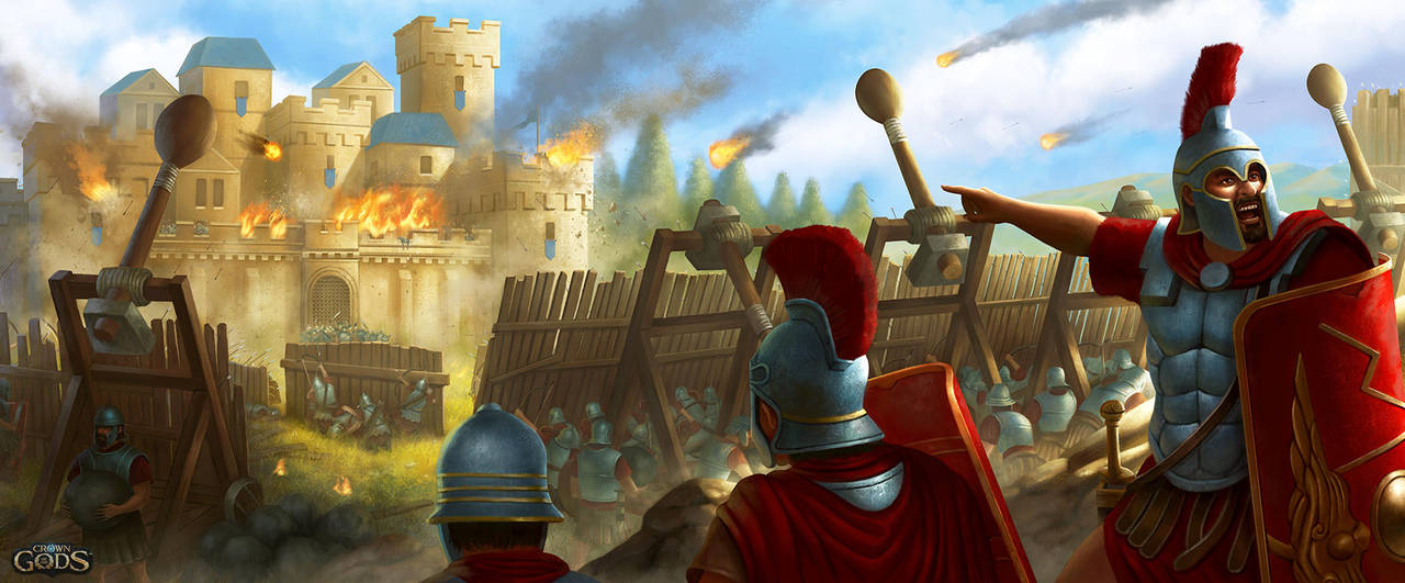 Catapult Attack by Montjart