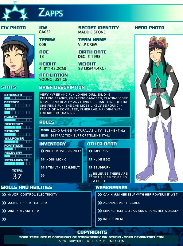 SGPA: Zapps Profile by AmayahimeDoodles