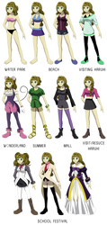 OHSHC: Cat's Outfit Line Up by AmayahimeDoodles