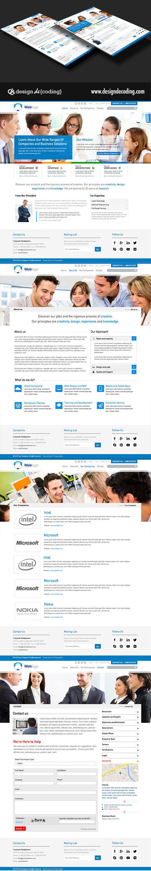 Corporate UI Website Design Layout PSD by designdecoding