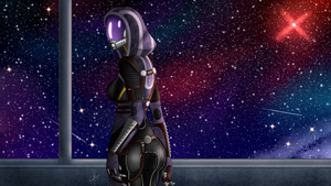 Tali'zorah Mass effect Wallpaper. by Lucyhako