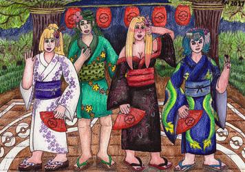 Alolan Girls in Yukata Kimonos by NobrisAgni