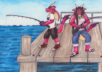 A.J. and Maya Pier Fishing by NobrisAgni