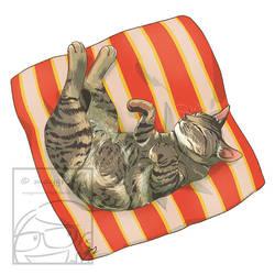 Sleeping Cat Brown Grey Tabby by Maygreen