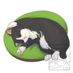 Sleeping Cat Tuxedo Black and White by Maygreen