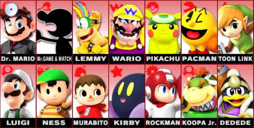 Smash Bros. characters by JoeKarta