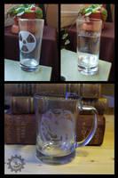 Etched glassware:Radioactive, Nuka Cola, Targaryen by ZombieArmadillo
