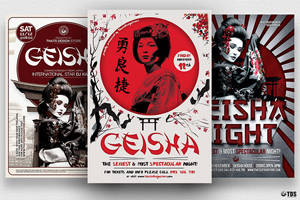 Geisha Party Flyer Bundle V2 by Thats-Design