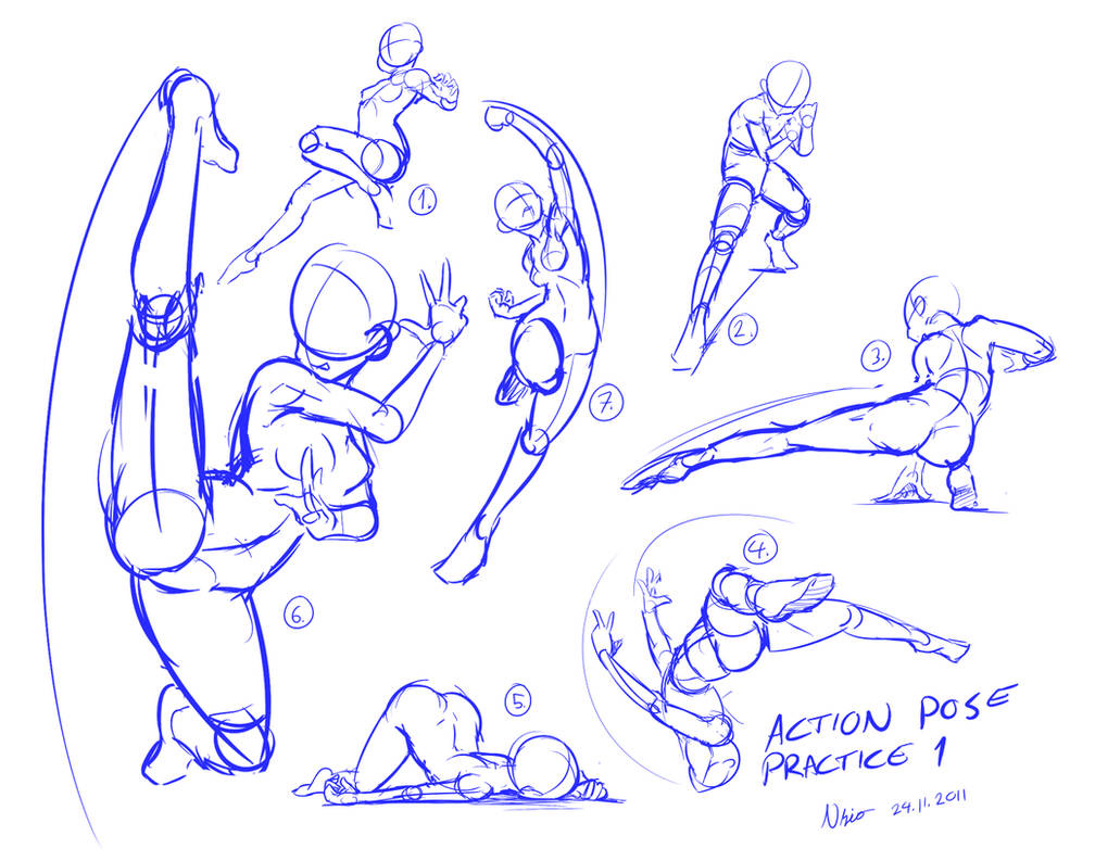 Action pose practice 1 by Nsio