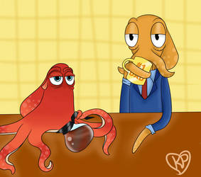 Octodad and Hank by kirbyplushie