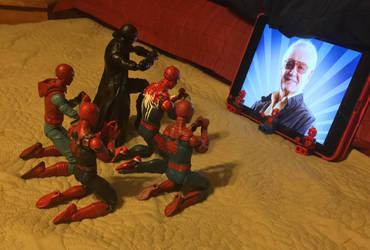Spider-Men praying to their fallen Legend by AVGNJr1985