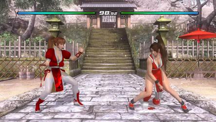 Kasumi Vs Mai Shiranui in DOA5 (Red Outfits Match) by AVGNJr1985