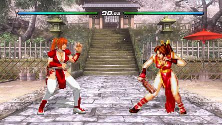 Kasumi Vs Mai Shiranui in DOA5 (Red Sprites Match) by AVGNJr1985