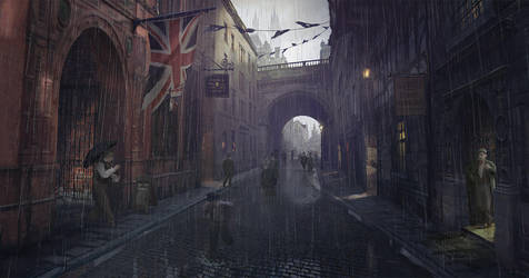 Victorian Murder Concept - Victorian London Street by stayinwonderland