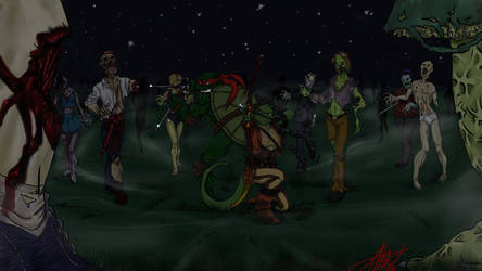 Raph and Mona vs. Zombies by bugsytrex