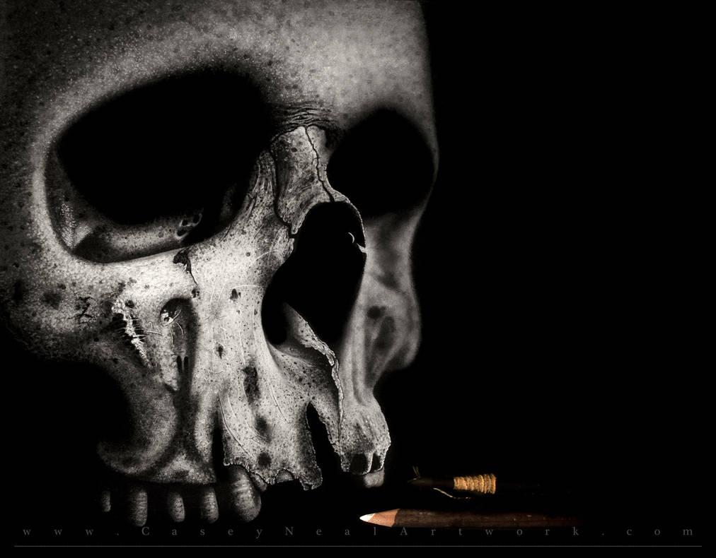 Charcoal Skull by CaseyNealArtwork