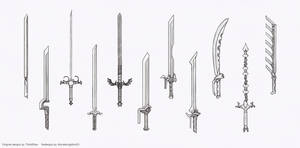 Weapon redesigns - long one handers (Sketch stage) by HIRVIOS