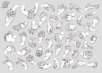 Hand Studies: Male hands (Robotized) by HIRVIOS
