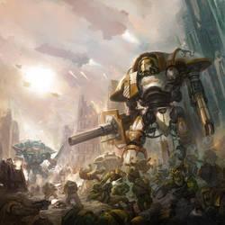 Imperial Knights vs Orks by faroldjo