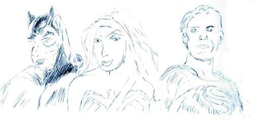 Batman, Wonderwoman, Superman by irate-velociraptor