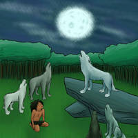 Mowgli and the Wolf Pack by anOriginalClone