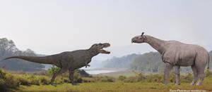 Tyrannosaurus Rex vs Paraceratherium by SameerPrehistorica