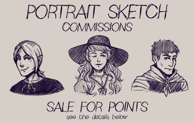 SKETCH COMMISSIONS: SALE for points (OPEN) by LuuPetitek