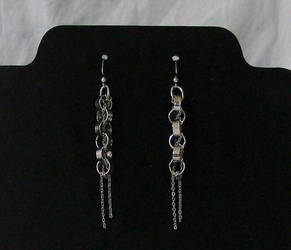 Silver Chain Earrings by bornahorse