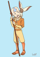 Aang and Momo by compoundbreadd